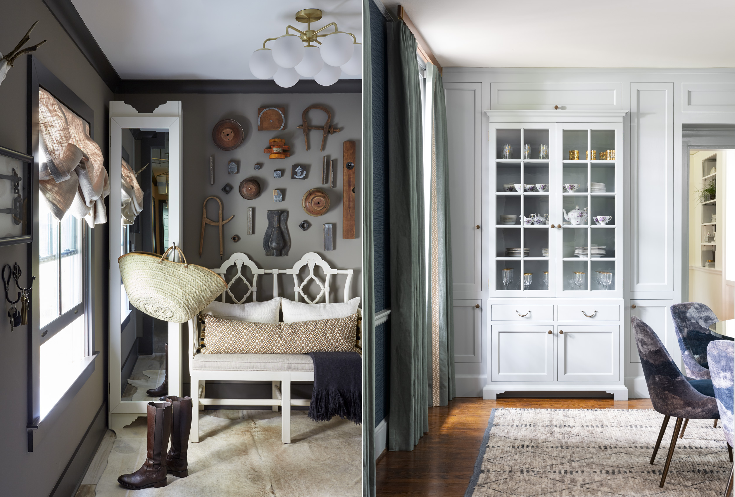 Kristin Kong interiors mudroom and dining room, Mali Azima photographer.