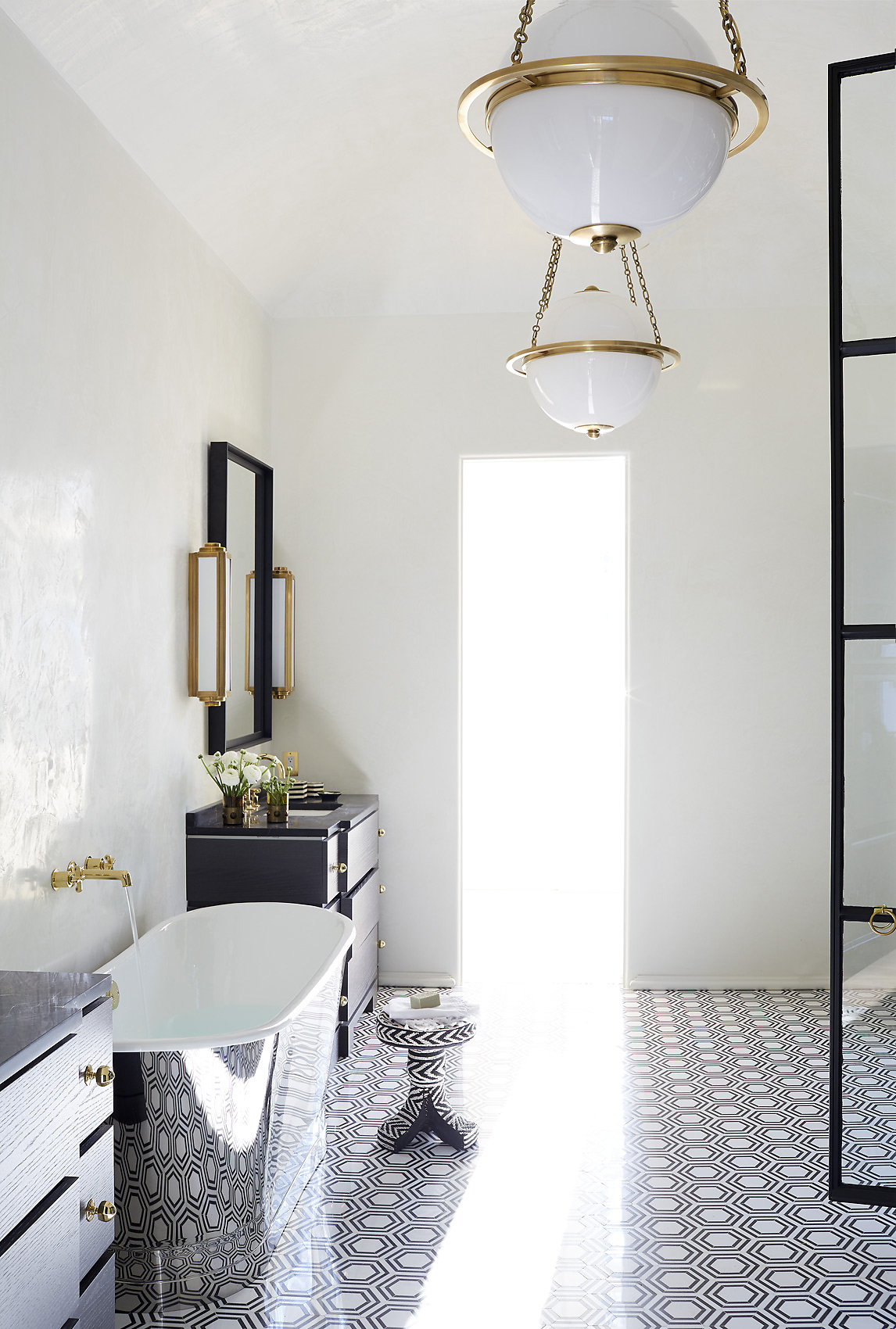 Melanie Turner Interiors uses Turkish tile in a  master bath, Mali Azima Photographer