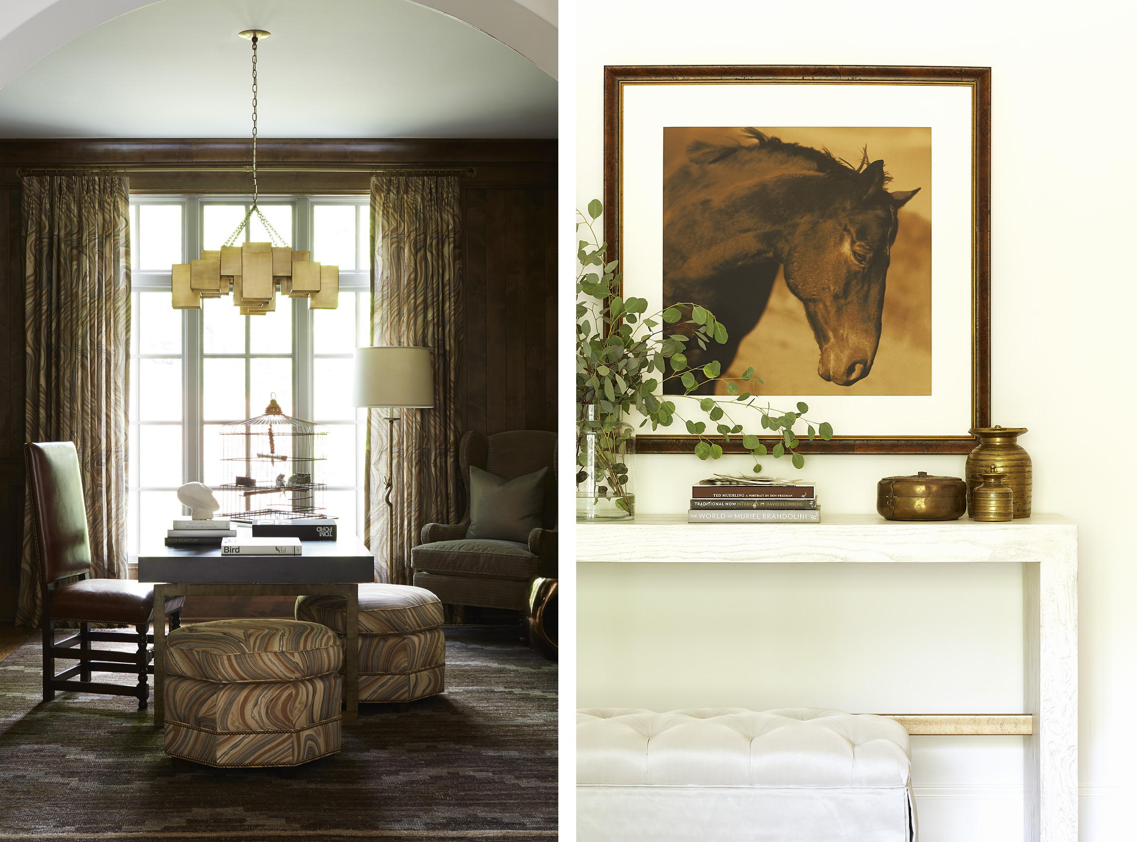 Shayelyn Woodbery Interiors dark library and horse with console, Mali Azima photography.