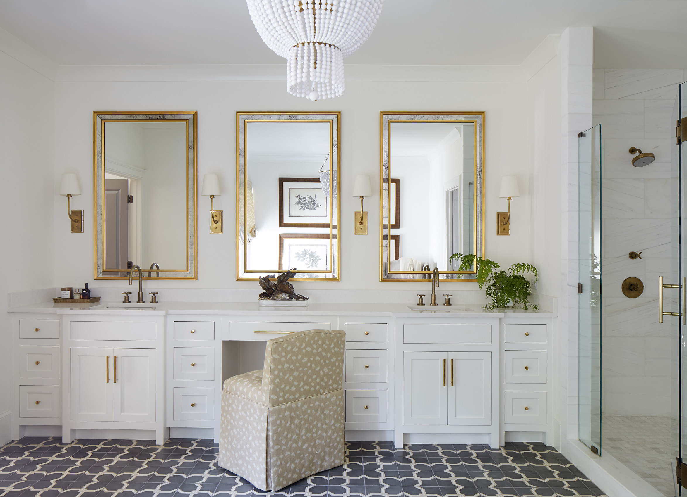 Shayelyn Woodbery Interiors uses turkish tile in a master bath, Mali Azima photography.
